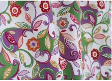 *F533(10)* C/Linen: Purple theme flower (yard)