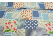 *F562(10)* C/Linen: Strawberry patches blue theme (yard)