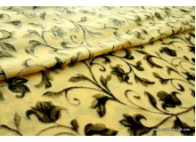 *F188-1125* Net Fabric: Flowers on mustard yellow (fixed)