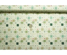 *F665(10)* C/Linen: Green flowers checks pattern (yard)
