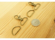 *T259(10/3)-* Bronze Snap hook and D ring 2.5 cm