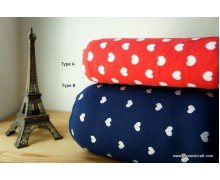 *F188-1994(20)* Cotton knit fabric: Cute love on red and navy blue (yard)
