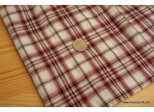 *F458* Japanese cotton: Maroon checks with shining red thread (big piece)