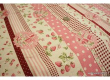 *F459* CL: Berry and roses stripes in pink (FQ/yard)