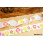 *R328-* Ribbon: Sun flower on white 2.2cm