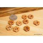 *B251* Wooden Button: Brown flower (7pcs)