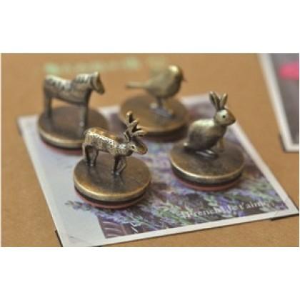 *ZS125-* Stamp: Vintage metal stamp and stamp pad set