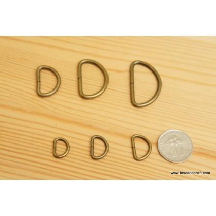 *T00222* D Ring: Bronze 1.0cm-3.2cm