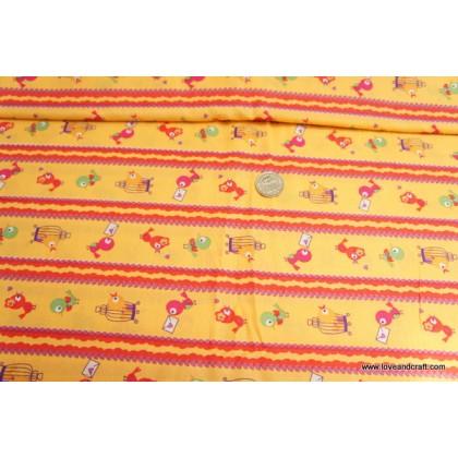 *880552* Cotton: Bird on orange 138cm