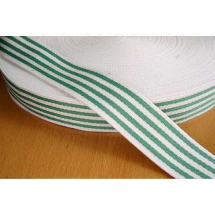 *700156* Webbing: Navy green stripes 3.8cm