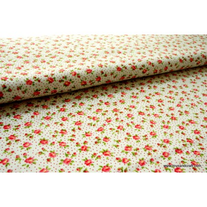 *FAB103L* Cotton: Little red flowers on white 110cm width