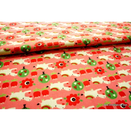*FAB116(10)-* Linen: Hippo on pink 110cm width