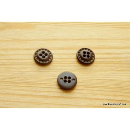 *B00274* Resin button: 4 hole dark brown