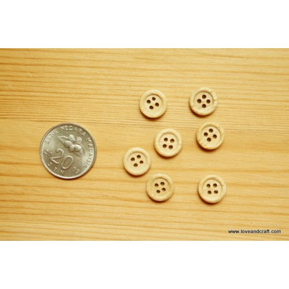 *B00279~* Wooden button: Mini 4 hole natural brown (1cm)