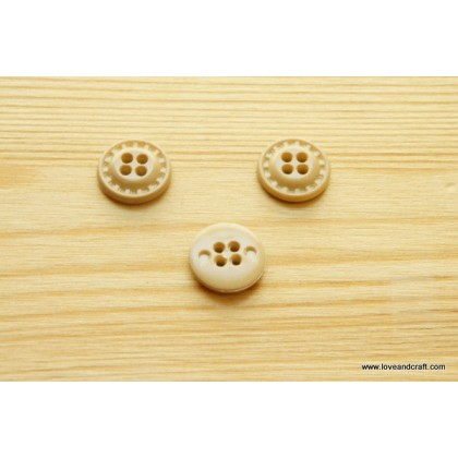 *B00281* Resin Button: 4-hole wooden color 1.2cm (10 pcs)