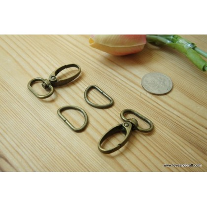 *T00278~* Lobster snap hook + D ring set 2.0-3.2cm