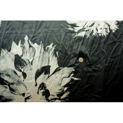 *870008* Poly satin: White flower flame on black