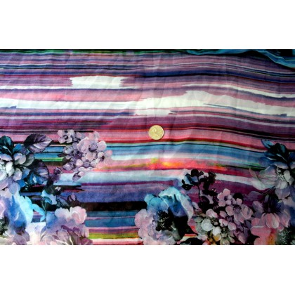 *870009* Chiffon: Abstract flowers and lines