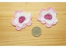*R494(10/3)-* Embroidery patch: Pink flower (2pcs)