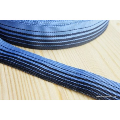*700245* Ribbon: Blue theme stripes ribbon 2.5cm