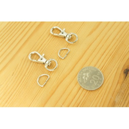 *T257* Small snap hook and D-ring set (1.0cm/2sets)