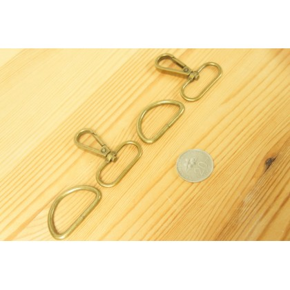 *T00262* Bronze Snap hook and D ring 2.0-3.2cm