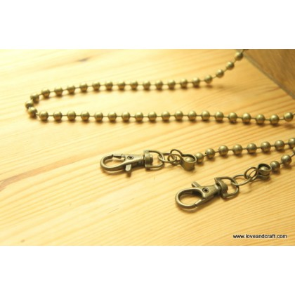 *T01287* Metal ball chain-bronze (50 and 120cm)