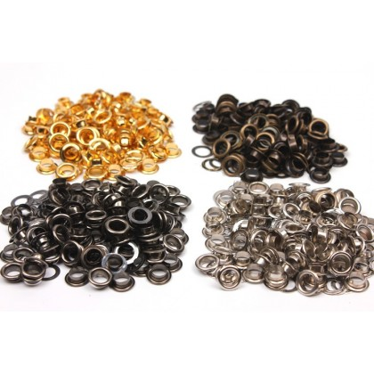 *T00289~* Eyelet - Bronze/Silver/Black Silver And Gold (6mm)