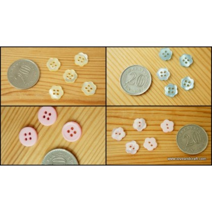 *B00305* Resin Button: flower and circle (1.2cm/12pcs)