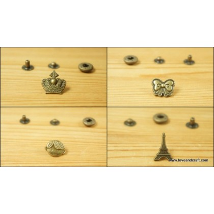 *B00316~* Assorted design snap buttons (2pcs)