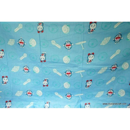 *880725* Cotton: Cute Doraemon theme in blue 160cm