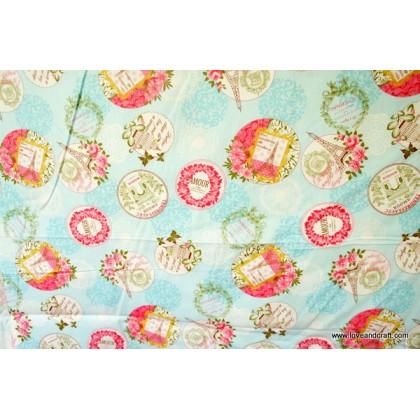 *880726* Cotton: Paris theme on blue 160cm