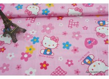 *F743(10)-* Cotton: Hello kitty on pink 160cm width