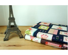 *F764(10)* Japanese Cotton: Country Girl on Brown and Blue 110cm width