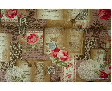 *F767(10)* Japanese Cotton: Roses on Travel Log 110cm width
