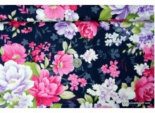 *F775(10)-* Japanese Cotton: Vibrant Flowers on Starry Blue 110cm width
