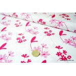 *F00793* Cotton: Pink Flowers on White 140cm width