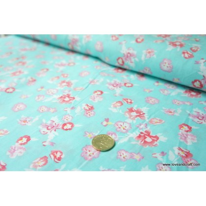 *880794* Cotton: Pink Flowers on Turquoise 140cm