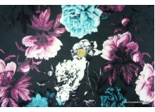*FT2630-* Sweater/Terry Knit: Elegant Flowers on Black