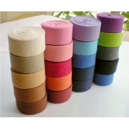 *700402-* Cotton Canvas Webbing: Assorted Colors 3.2cm (3 meters)
