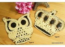 *T01579-* Embroidery Patch: Owl and Crown