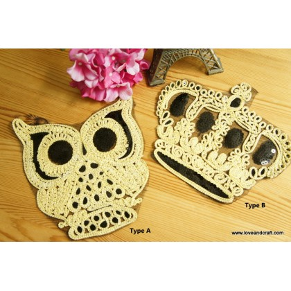 *T01579~* Embroidery Patch: Owl and Crown