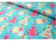 *F00805* Japanese Cotton: Cute Robots On Turquoise110cm width