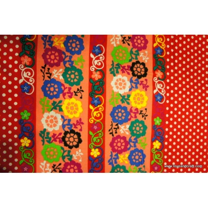*FC00807* Japanese Cotton: Semi Polkadot With Flower on Red (110cm)