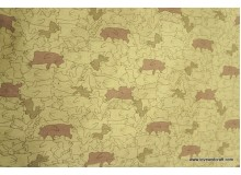 *FL140 * Cotton Linen: Animals in Khaki