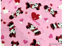 *FN02788* Jersey knit: Dancing Minnie Mouse With Love on Pink (160 cm)