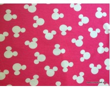 *FN02823(SALE)* Jersey Double knit: Mickey Logo on Pink (200cm)