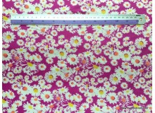 *FN02836* Jersey knit : White Daisy on Magenta (170cm)