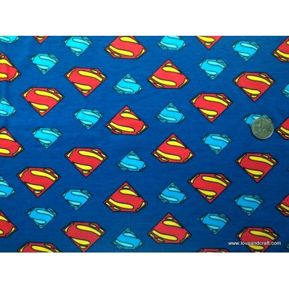 *902859*Lycra knit: Superman Logo on Blue(160cm)
