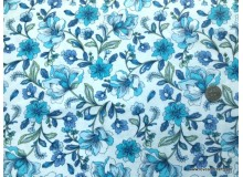 *FN02877(SALE) * Double knit :Blue Flower on White (180cm)